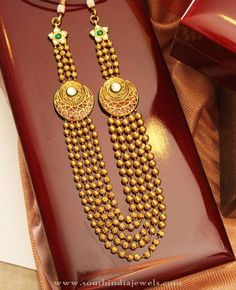 Gold Multilayer Ball Haram Designs, 22K Gold Ball Haram Collections, Latest Ball Haram Designs.