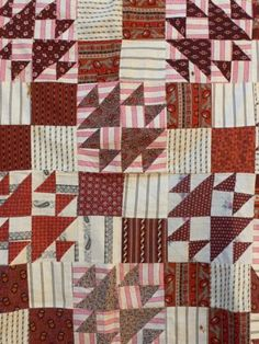 EXCITING-ORIGINAL-Crosses-Losses-antique-CRIB-quilt-TOP-ca1870s-madder-browns