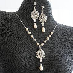 GRACE Bridal Necklace Wedding Jewelry SET by GlamorousBijoux