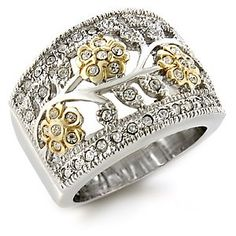 Two Tone Swarovski Crystal Floral Motif Ring