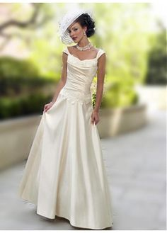 LACE BRIDESMAID PARTY BALL EVENING GOWN IVORY WHITE PROM SATIN A-LINE TANK SLEEVE WEDDING DRESS