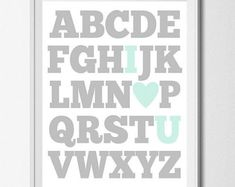 This alphabet art print is an adorable piece, perfect for decorating a babys nursery, childs bedroom, or playroom. Available in any any color, not limited to what you see here.  5x7 or 8x10 inches, unframed DURING CHECKOUT For custom colors, write in your color choice during checkout. 1) Main letter color: 2) Accent letter color (I ♥ U) : 3) Background color: NEED A LARGER SIZE? Size 11x14: https://www.etsy.com/shop/breedingfancy/search?search_query=alphabet+11x1...