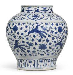 A blue and white 'Lotus and Peacock' Vase, Ming Dynasty, Jiajing period (16 September 1507 – 23 January 1567), who was the 11th Ming Dynasty Emperor of China who ruled from 1521 to 1567 AD.