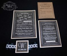 Musical Wedding or Party Invitation and RSVP Card in chalkboard white and black with lace ribbon and embellished. Brown paper rustic and old school. Comes in Musical Box that Sings! Singing Music boxed invite. Totally custom, high end/class, couture, elegant invite.