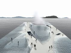 daniel valle's water pavilion proposal invites users for a walk towards the ocean