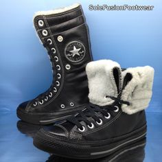 fb6a56578e02 Converse Womens All Star Leather Trainers Black Sz 5.5 X Hi Fur BOOTS US  7.5 38 for sale online