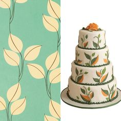 """Leafy Paper Inspired Wedding Cake. Snow & Graham's """"Leaf"""" wrapping paper inspired the graphic design of this cake by Linda Brudz, of Sweet Alternatives."""