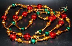 Gablonzer Christbaumschmuck - Weihnachtsbaumkette 100cm - Rot Grün Gold