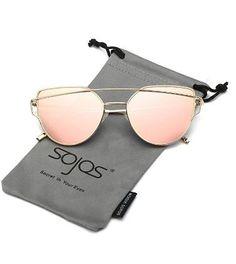 7e073e444c SojoS Cat Eye Mirrored Flat Lenses Street Fashion Metal Frame Women  Sunglasses SJ1001 -  12.99 Sojos