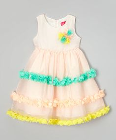 Loving this Pink & Turquoise Flower Petal Dress - Toddler & Girls on #zulily! #zulilyfinds