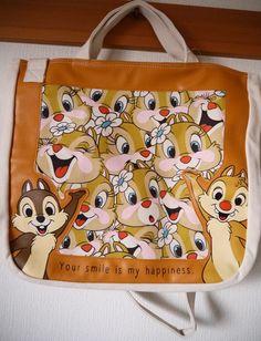 New Disney Chip Dale Clarice Harajuku KIddyland 2 way Canvas tote bag JAPAN