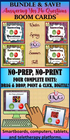 This comprehensive BUNDLE includes FOUR complete NO-PREP, NO-PRINT Answering Yes No Questions Boom Card lessons that address the concept of responding to basic Yes/No questions. It includes full-color REAL images and is fully interactive with point