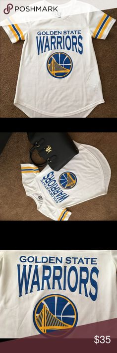 Warriors jersey shirt 👚 Cute warriors jersey ! Size small. Only worn a few times! Let me know if you have any questions 😊 #warriors #jersey #cute #summer #ootd #outfitoftgeday #tjmax #sun #bayarea #Oakland #Oaklandwarriors nba Tops Blouses