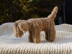 Knitted dog with handspun wool naturals and locals by MainsDeLaine