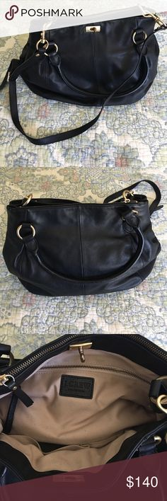 """J. Crew Brompton Bag BEAUTIFUL J. Crew Brompton large bag. Re-posh as I'm a genius and didn't realize I had to offers open at once. No signs of wear besides light scratching on the metal closure clasp. Removable shoulder strap that's long enough to go cross-body. Base of bag is 13"""" x 6"""" and 11"""" base of bag to top. Super soft black leather. J. Crew Bags"""