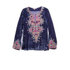Embellished velvet tunic.