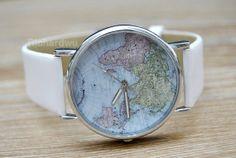 World Map Watches Women Watch Man Wrist Watches by Richardwu, $3.50 Personalized handmade leather watch,best gift of friendship.