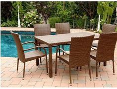 Wicker 7-Piece Dining Sets Brown Patio Poolside Contemporary Rectangle Backyard #DiningSets