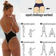 Had to share this killer squat workout! 🍑It's perfect for ALL fitness levels - just extend the time to 3 or 4 mins per exercise 👆🏽 LIKE… Fitness Workouts, Fitness Apps, Fitness Motivation, Fit Girl Motivation, Toning Workouts, At Home Workouts, Health Fitness, Workout Tips, Fitness Life