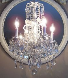 ON HOLD Romantic Cottage Crystal Chandelier by sheriscrystals