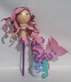 Mermaid favors, Pencil Favors,Character pen/pencil covers Birthday favors, fofucha,toy, Mermaid birt