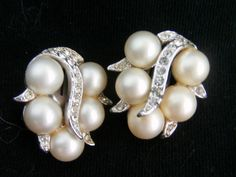 Vintage signed earrings. Click for details https://www.etsy.com/listing/214313597/vintage-pearl-earrings-signed-earrings?