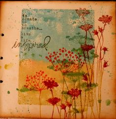 stampingblock, distress ink and water {I know. Queen Anne's lace, not dandelions}