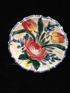 Made in Italy round dishes Rose & Tulip design $22 - ebay