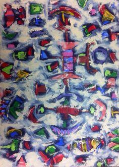 Título: La Noche  Autor: Alvaro Galindo Vácha  Dimensiones: 50 x 70 cm  Técnica: Acrílico sobre tela  Año: 2010  Firmado: Frente y Revés