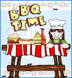 BBQ card, barbecue clip art, barbecue invitation, summer clip art