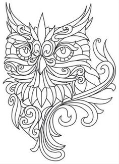 baroque owl coloring pages - Tattoo Coloring Book