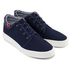 Aztec Detailed Plimsol by 24:01, shoe with fabric upper, with aztec pattern, and checker pattern, with navy blue color, almond toe cap, synthetic sole, perfect for casual style, pair this simple but eye catching shoe with your jeans for casual style. http://www.zocko.com/z/JIybb