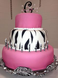 Pink and Zebra striped birthday cake....so cute!