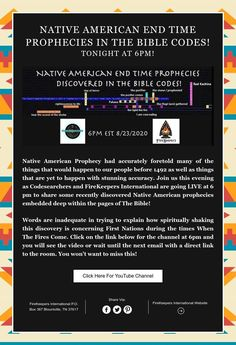 Native American END TIME prophecies in the Bible Codes!   Tonight at 6pm! End Time, Current Events, Nativity, Bible, Coding, Shit Happens, Words, Biblia