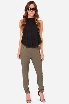 At First Glance Olive Green Cropped Pants at Lulus.com!