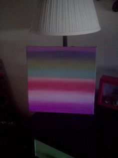 Multi color modern ombre striped 12x12  acrylic painting on canvas, $17.0