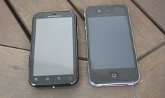 Tamanho defy plus vs iphone 4.