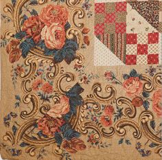 Bridal Chest Quilt detail, Chester Co, Pennsylvania. Classic Quilts from the American Museum in Britain. Old Quilts, Antique Quilts, Vintage Textiles, Vintage Quilts, Primitive Quilts, Nine Patch Quilt, Medallion Quilt, Patch Aplique, Quilt Border