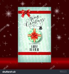 Lettering Merry Christmas. Christmas symbols and beautiful gift boxes with red bows and ribbons. Holiday calligraphy. Vector illustration
