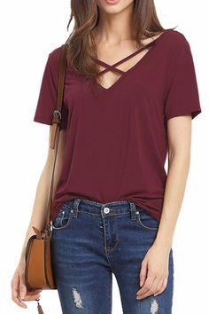 US$9.95 -YOINS #Burgundy #Cross #Straps #Front & Back Deep V-neck T-shirts -