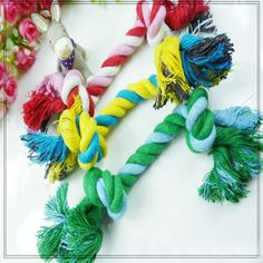 Dog Puppy Pet Chew Cotton Knot Toy Braided Bone Rope 15CM Small/Medium Dog