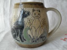 Llanbrynmair pottery, Michael and Joanna Mosse 8-cat tankarddirect lines from Hannah Barlow on one side and Louis Wain on the other; quite a talent to have. Weighs 520 gms 13 cms tall 16cms at its widest including handle. Holds about a pint
