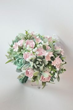 Wedding bouquet Clay succulent bouquet with roses and baby's breath Clay Bridal bouquet Pink roses bouquet Cherry blossoms bouquet