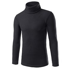 Orangeskycn Autumn Mans Long sleeve Tshirt Fashion Casual Highcollar Mens Sweaters Tops Blouse M Black -- Visit the image link more details.