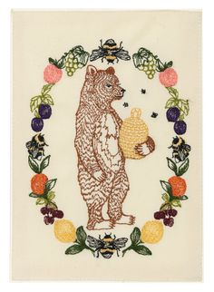 Find Honey Bear Card and more cards at Coral & Tusk. Shop from the best embroidered cards for greeting, thank you, birthday, holiday and more! Honeycomb Tattoo, Coral And Tusk, Bear Signs, Bear Card, Honey Bear, Presents For Mom, Embroidery Art, Machine Embroidery, Quilt Blocks
