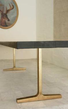 BRONZE TRESTLE TABLE  Textured Solid Wood Top with Ebonized Wooden and Cast Bronze Butterflies. Charred finish and cast bronze base