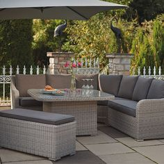 Buy Natural KETTLER Madrid Rattan Corner Set with Cover from our Garden Furniture Sets range at John Lewis & Partners. Fire Pit Furniture, Brown Furniture, Outdoor Furniture Sets, Outdoor Decor, Cozy Backyard, Backyard Retreat, Conservatory Furniture, Round Sofa, Patio Table