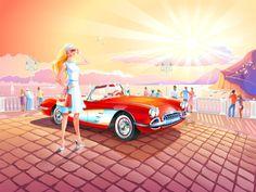 What a lovely Chevrolet Corvette C1 (1958) artwork.  Credit to Turbomilk on Dribbble.