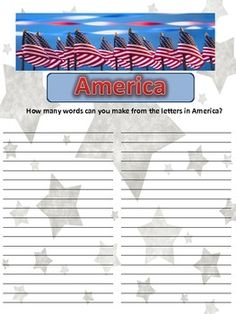 This makes a great activity for Memorial Day, Flag Day, Fourth of July, or any patriotic holiday! Students used spelling, reading, vocabulary, and ...