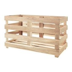 IKEA - SKOGSTA, Storage crate, Perfect for storing cans and bottles as the box is sturdy.You can save space by stacking two boxes on top of one another.Solid wood is a durable, natural material.